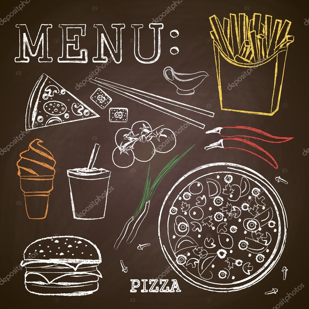 1024x1024 Fast Food, Pizza, Menu , Drawing With Chalk On A Blackboard