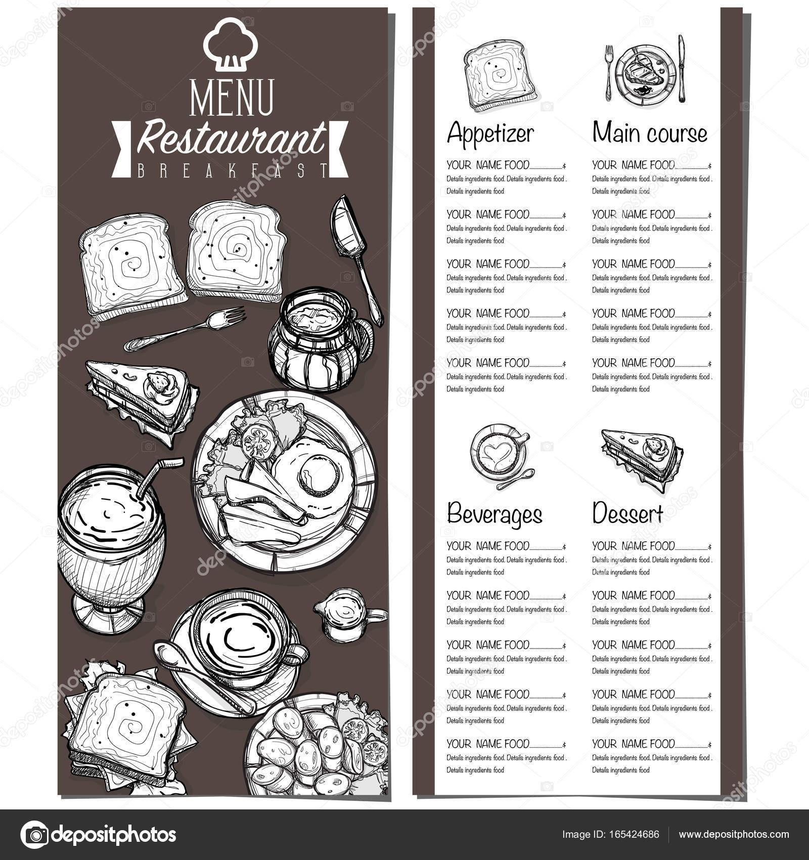 1600x1700 Menu Breakfast Food Restaurant Template Design Hand Drawing