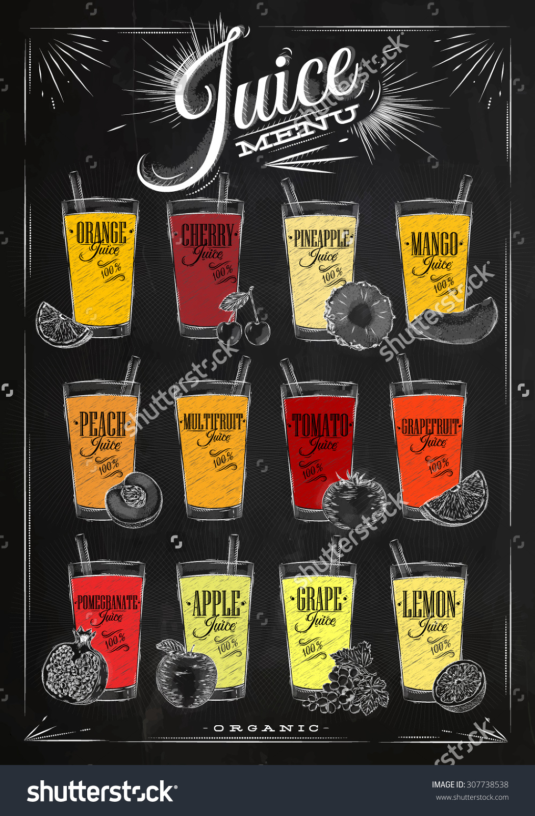 1049x1600 Stock Vector Poster Juice Menu With Glasses Of Different Juices