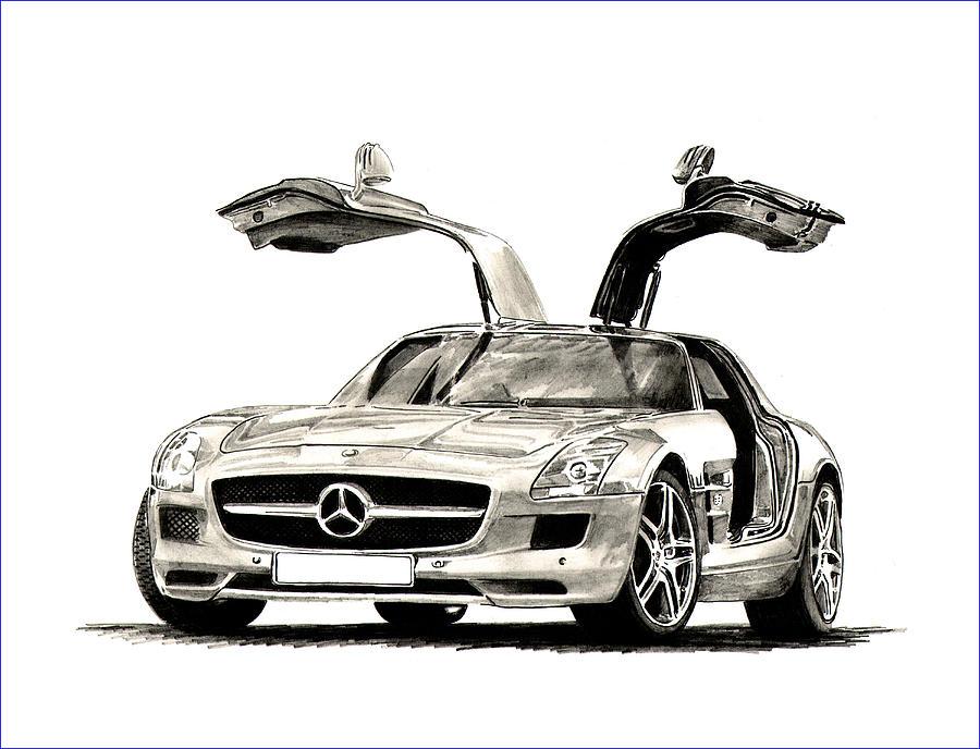 900x688 Benz S L S Drawing By Jack Pumphrey