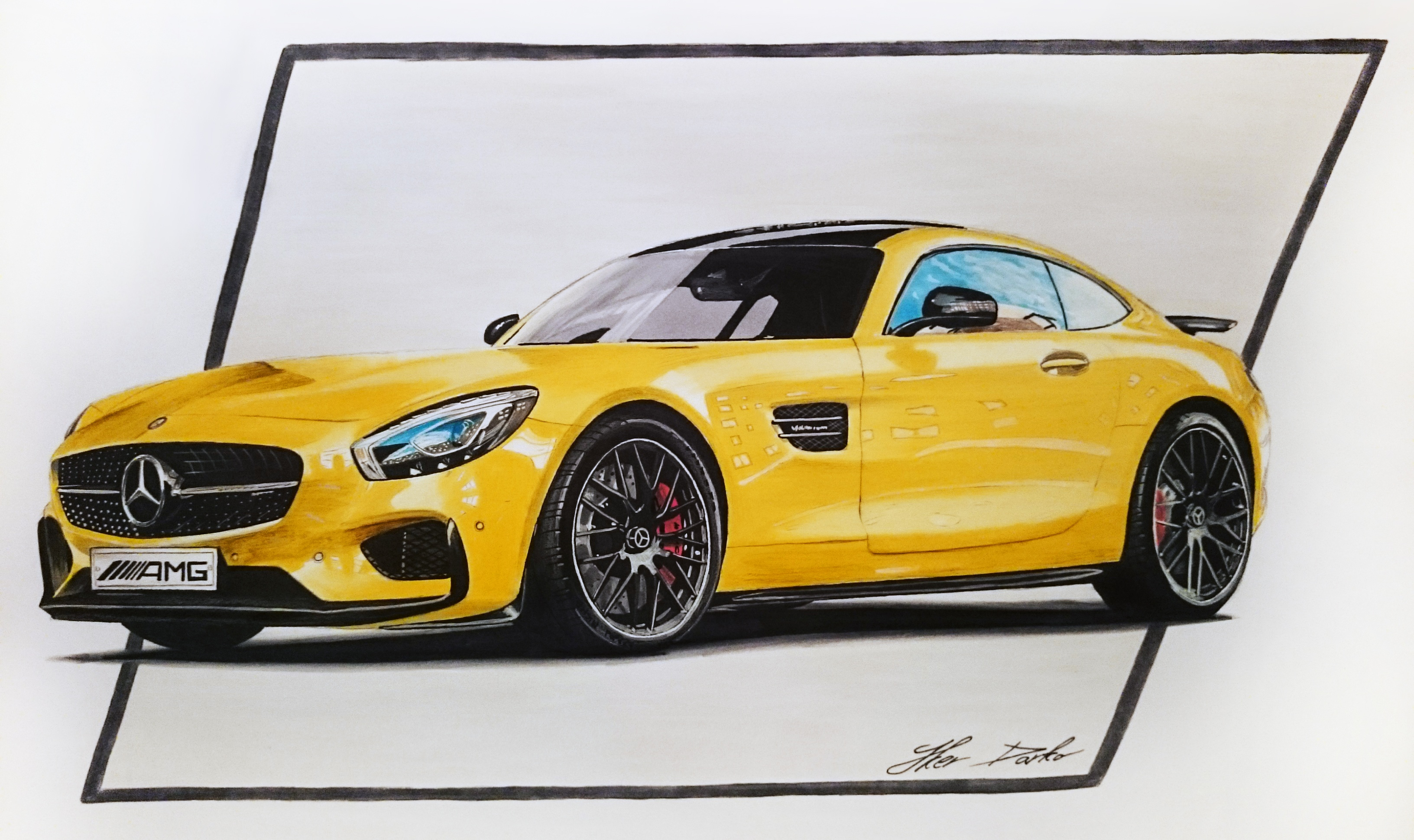 3264x1940 Mercedes Amg Gt S, 50x35cm, 7 Hours Of Work, Fb Pagecar Drawings