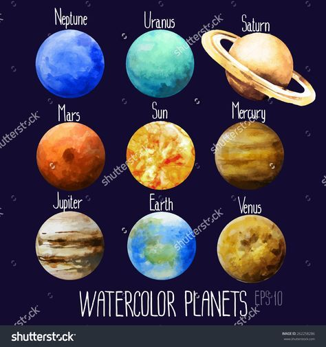 474x505 Stock Vector Watercolor Planets Sun Mercury Venus Earth Mars