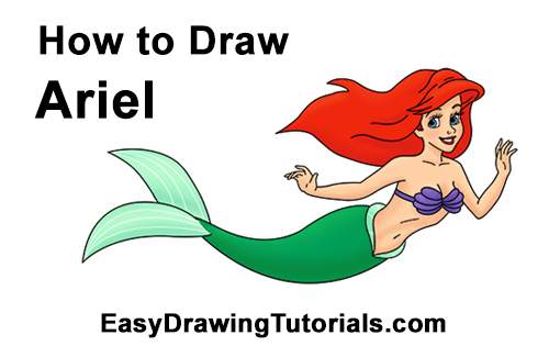 500x315 How To Draw Ariel The Little Mermaid (Full Body)
