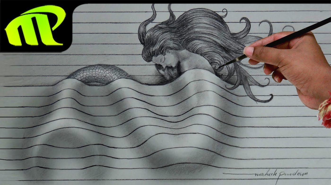 1400x783 Drawing A Sleeping Mermaid