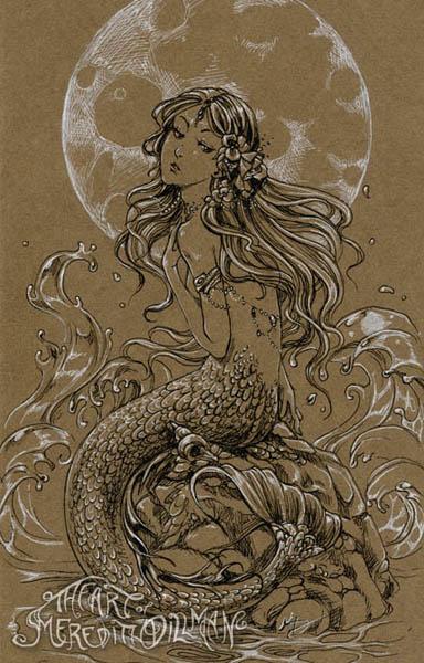 384x600 Moon Mermaid Drawing By Meredithdillman