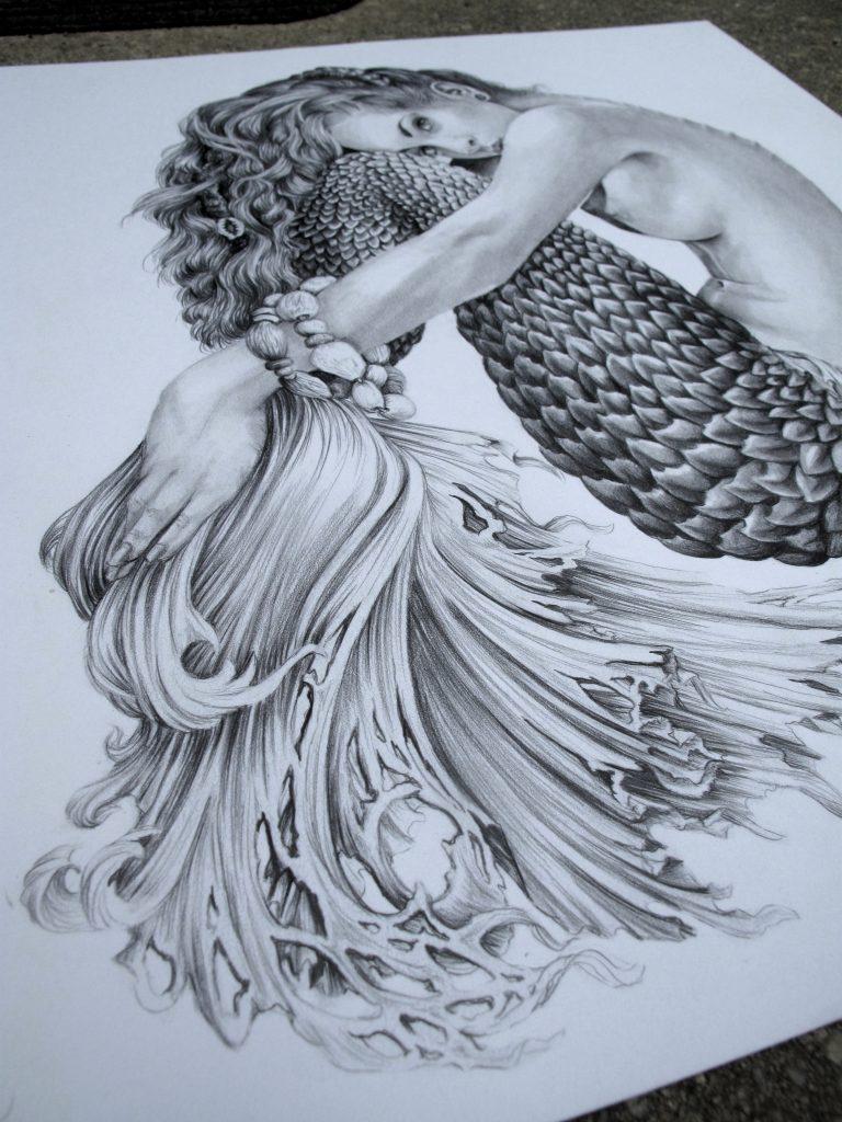 768x1024 Pencil Drawings Of How To Draw Mermaids Pencil Sketch Of Mermaid