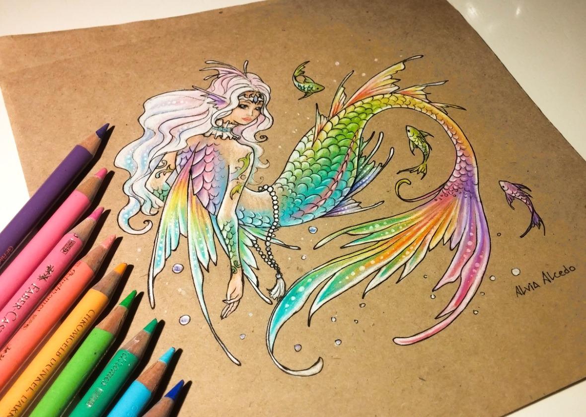 1180x840lvialcedo Rainbow Mermaid. It's My First Time To Draw