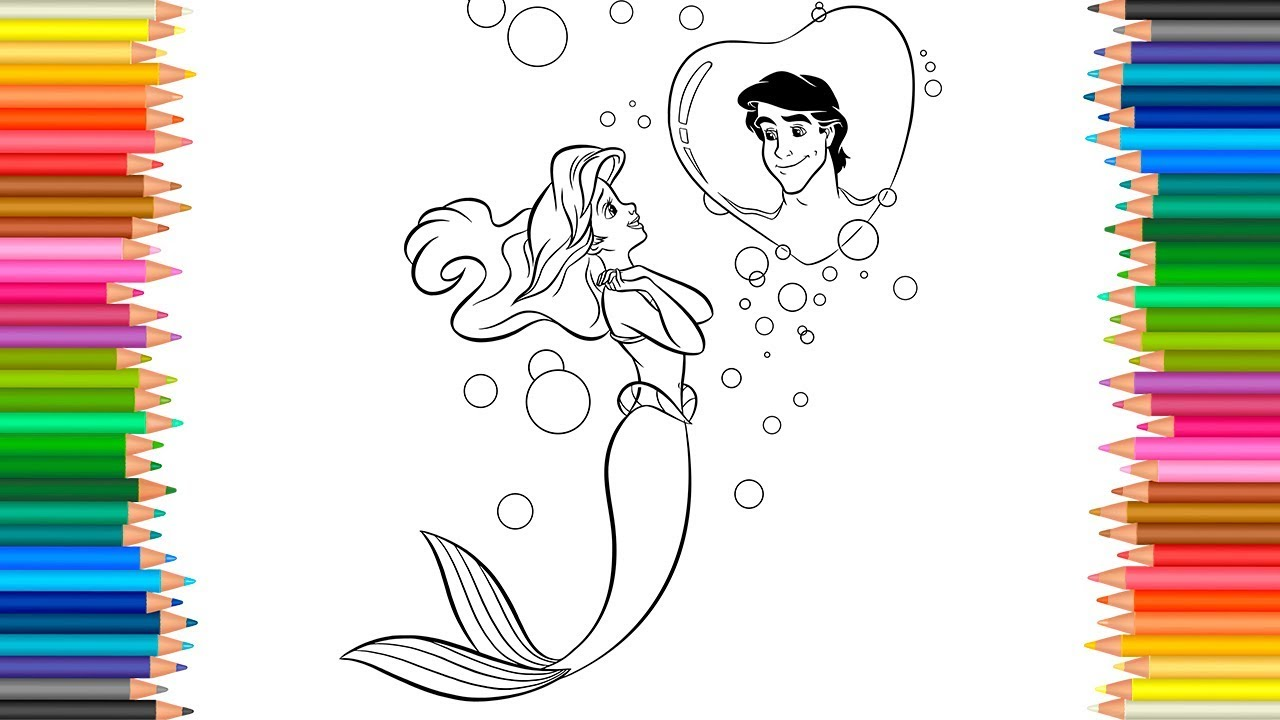 1280x720 The Little Mermaid Drawing Ariel Dreams Of Prince Eric Coloring