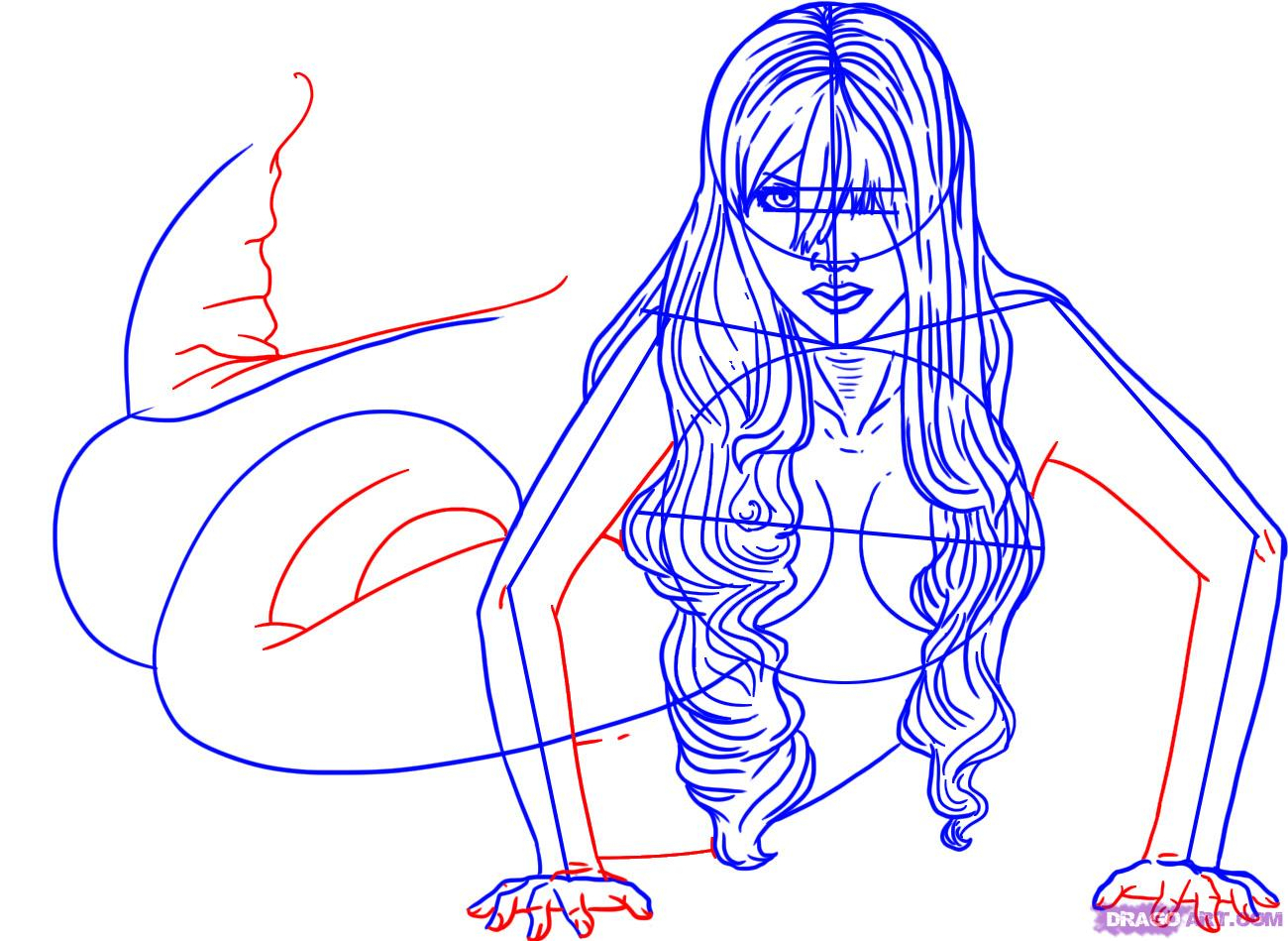 1300x949 Mermaid Drawing Step By Step How To Draw A Mermaid Step By Step