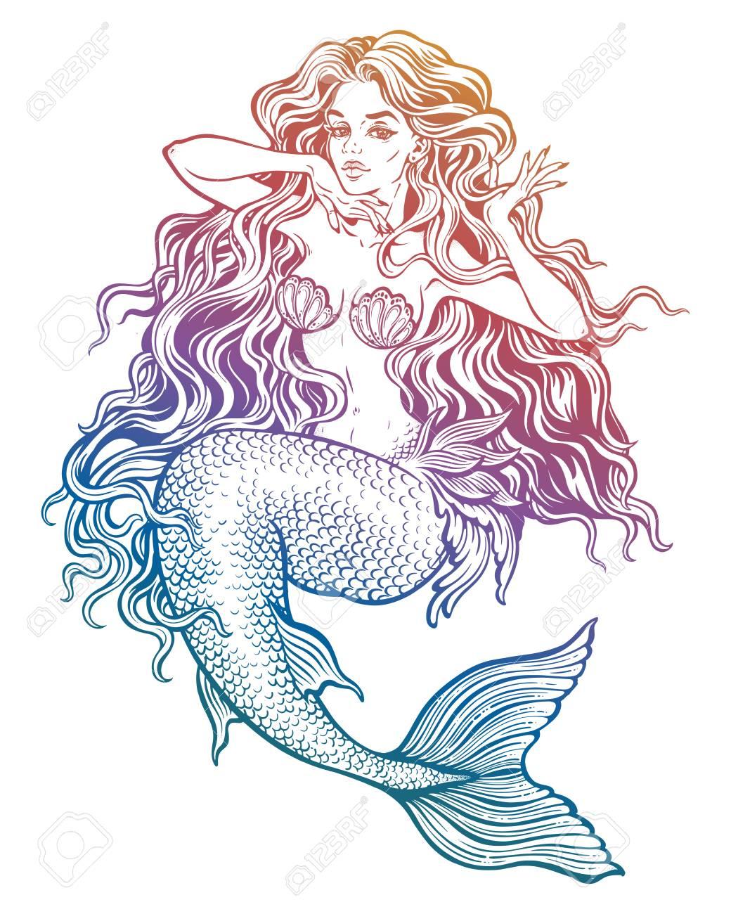 1040x1300 Beautiful Mermaid Girl With Fairytale Hair Art. Royalty Free