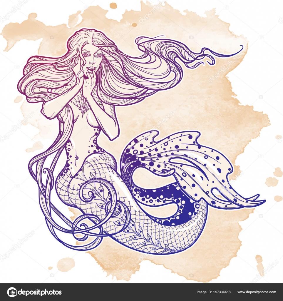 963x1024 Beautiful Mermaid Girl Sitting Hand Drawn Artwork. Sensual