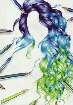 236x338 Mermaid Hair Color Drawing Hair!! Blue Wavy Long Hair. Fun To Draw