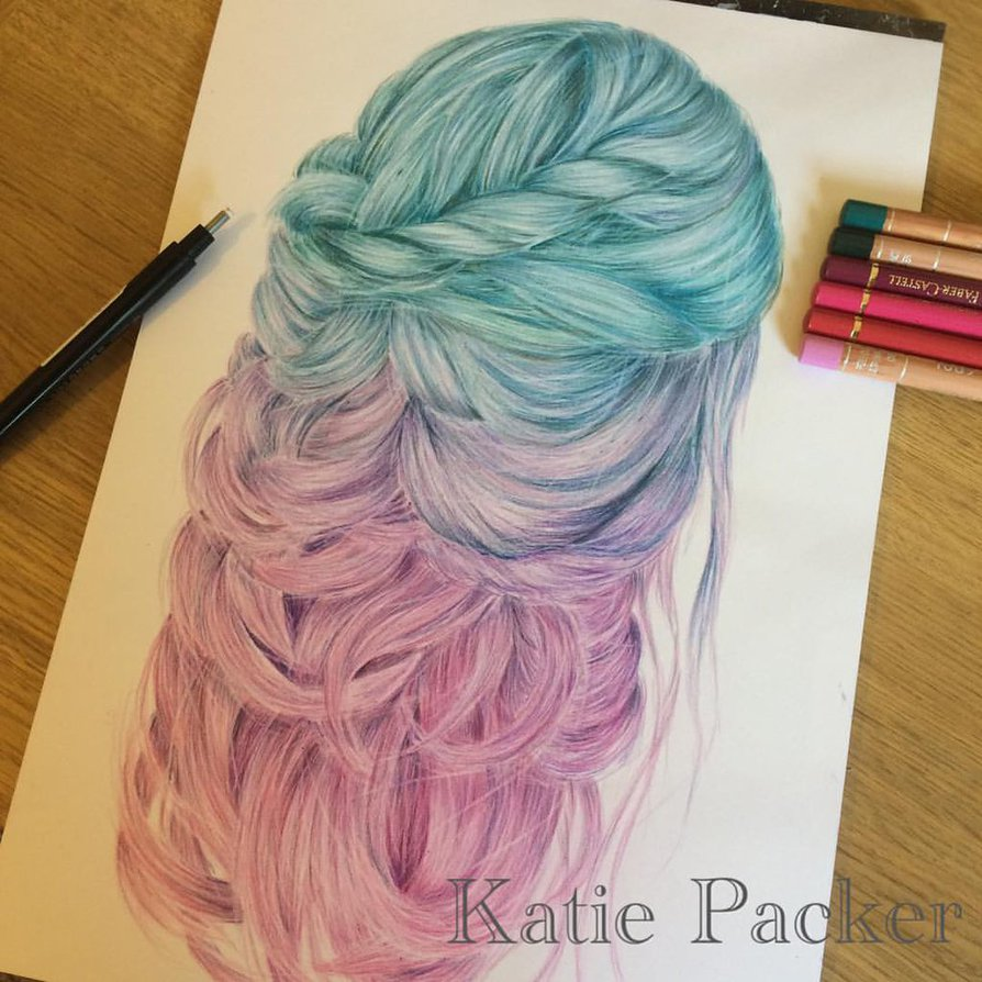 894x894 Realistic Coloured Pencil Drawing Of Mermaid Hair By Katiepacker