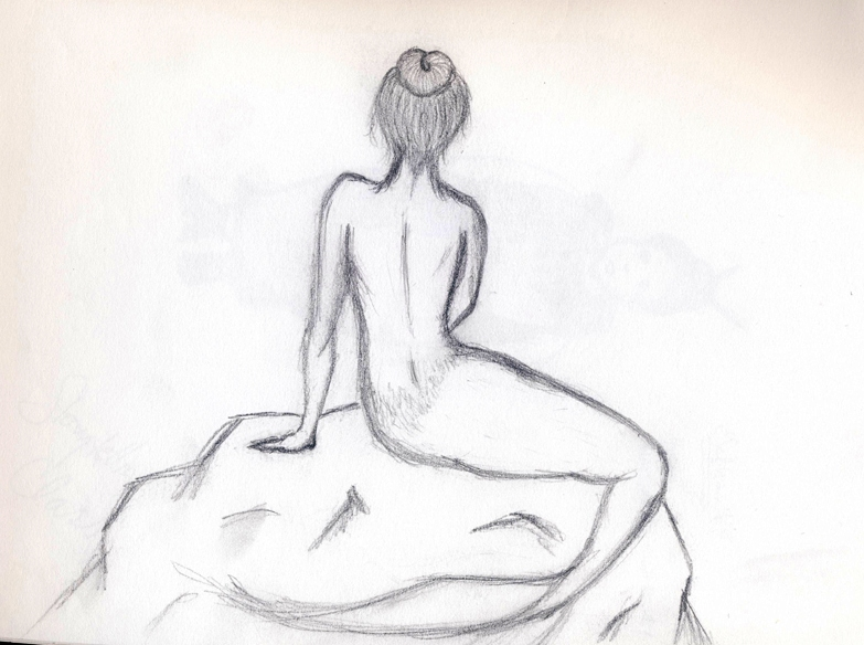 Mermaid On A Rock Drawing At Getdrawings Com Free For Personal Use