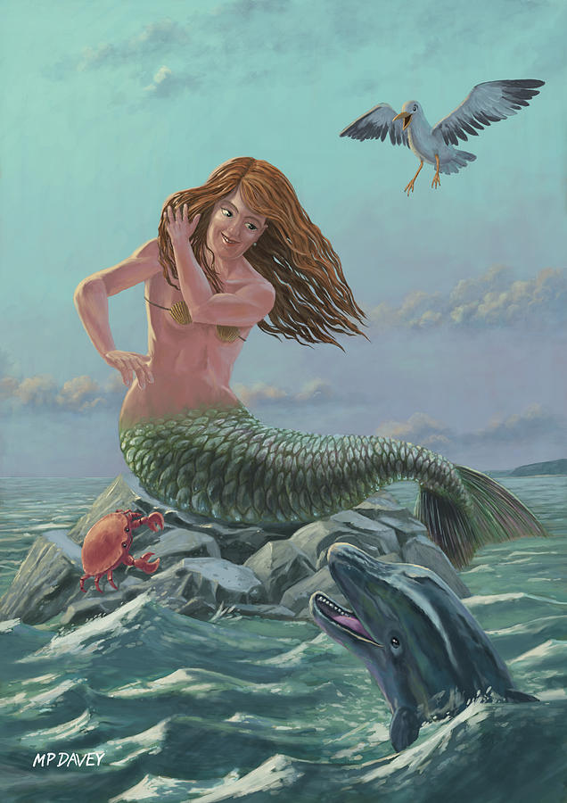 636x900 Mermaid On Rock Painting By Martin Davey