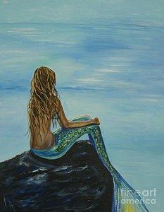 233x300 Mermaid Sitting On Rock Paintings Fine Art America