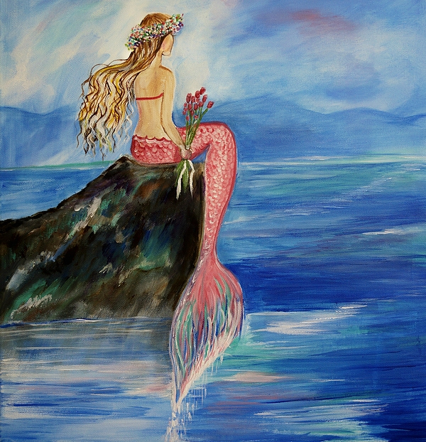 600x622 Mermaid Wishes Painting By Leslie Allen