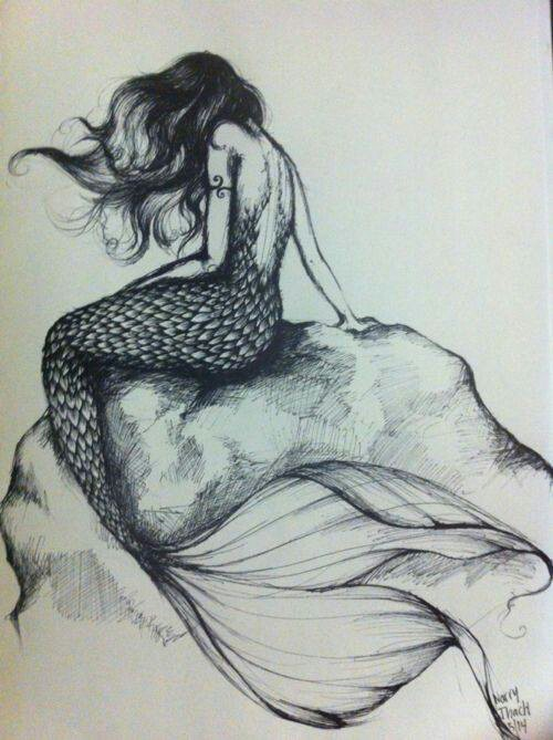 500x669 Mermaid Sitting On A Rock. Her Tail Comes Up Pretty High, Which