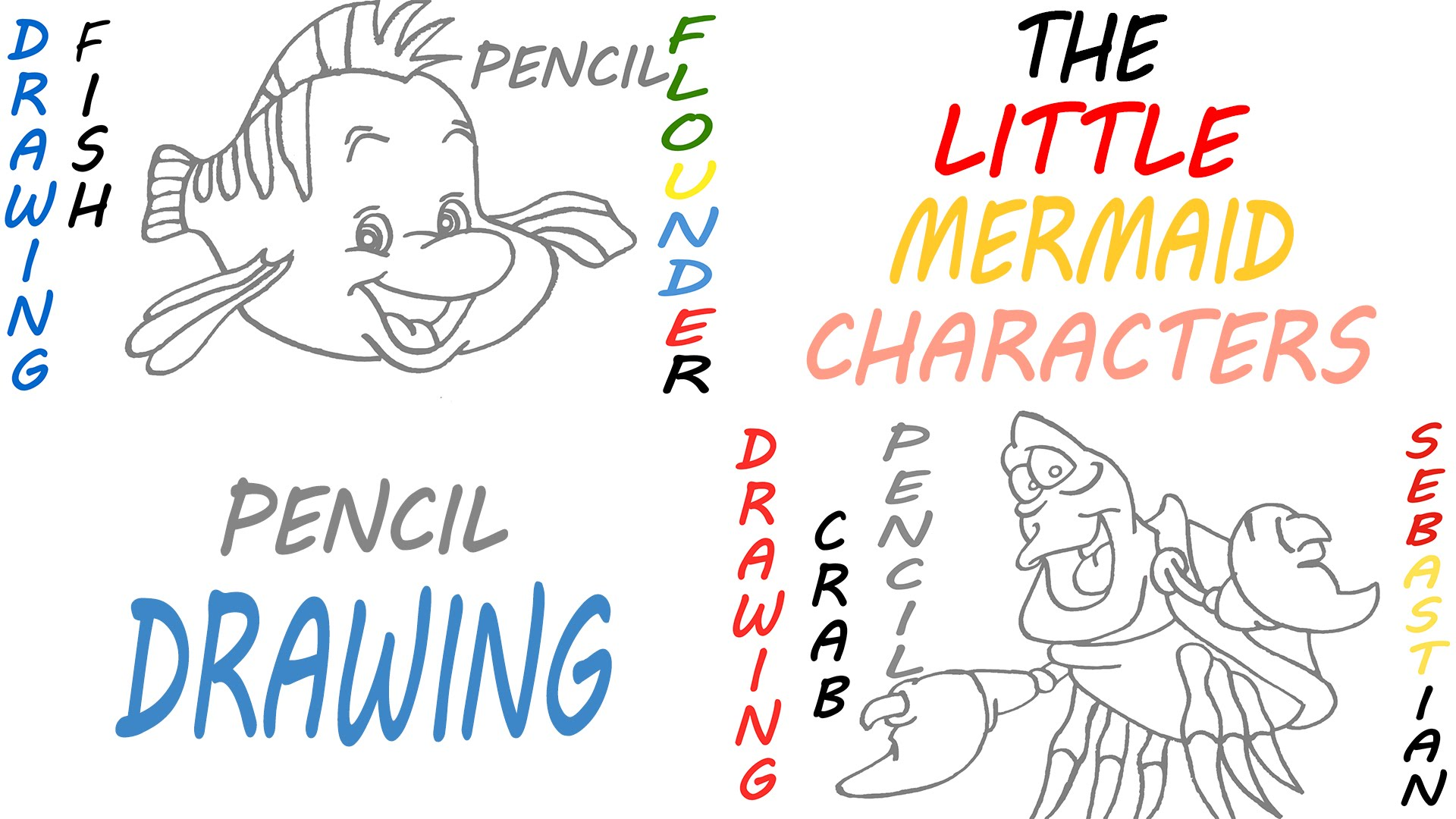 1920x1080 How To Draw The Little Mermaid Characters Step By Step Easy