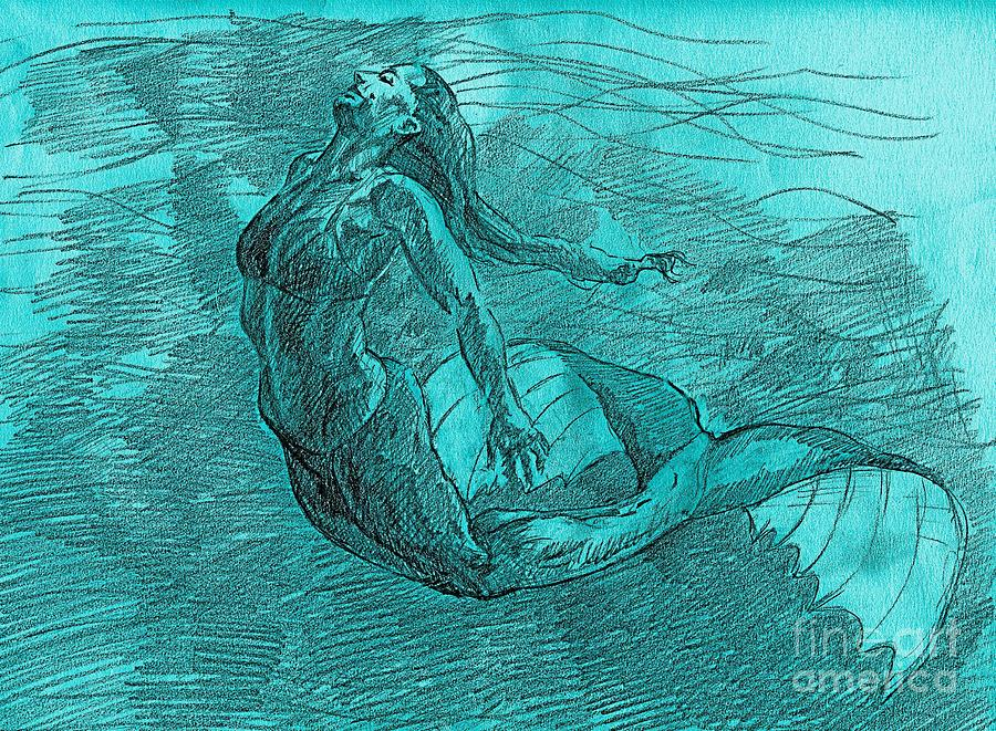 900x661 Mermaid Musing Drawing By Whistler Kenworthy