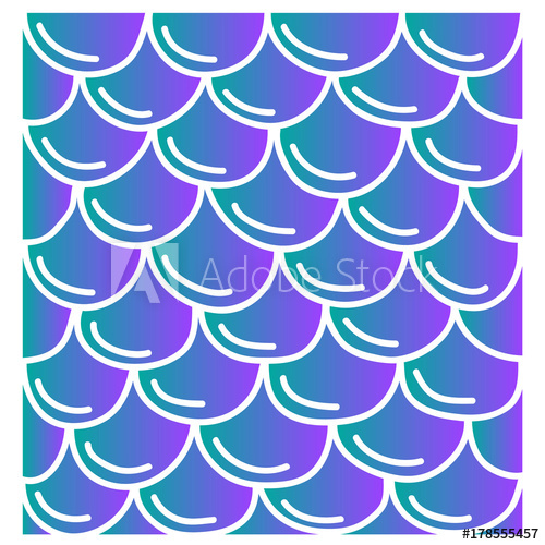 500x500 Mermaid Tail Pattern, Turquoise And Violet Vector Illustration