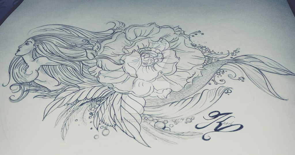 Mermaid Tattoo Drawing At Getdrawings Com Free For Personal Use