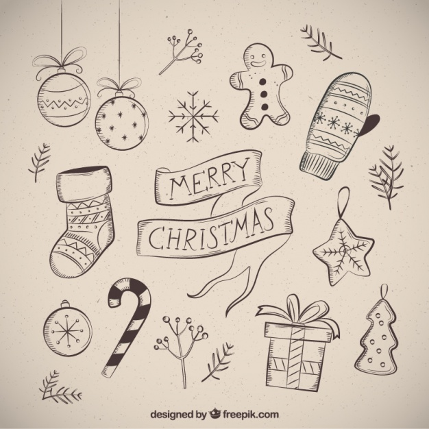 626x626 Merry Christmas With Several Drawings Vector Free Download