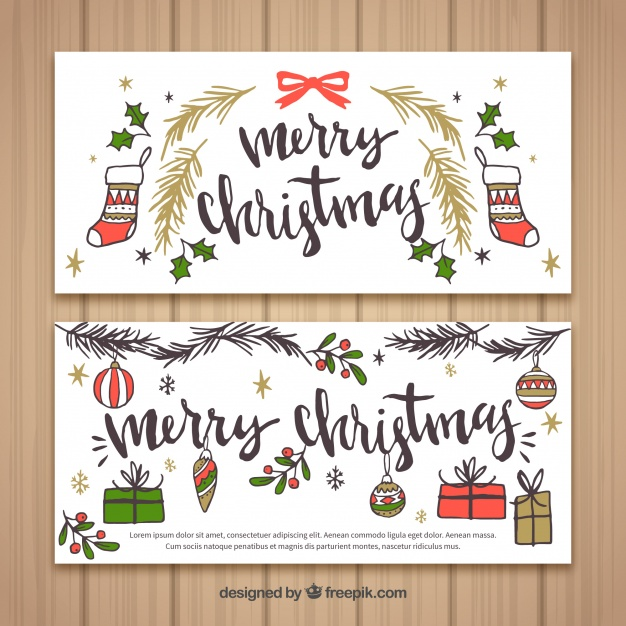 626x626 Vintage Merry Christmas Banners With Drawings Vector Free Download