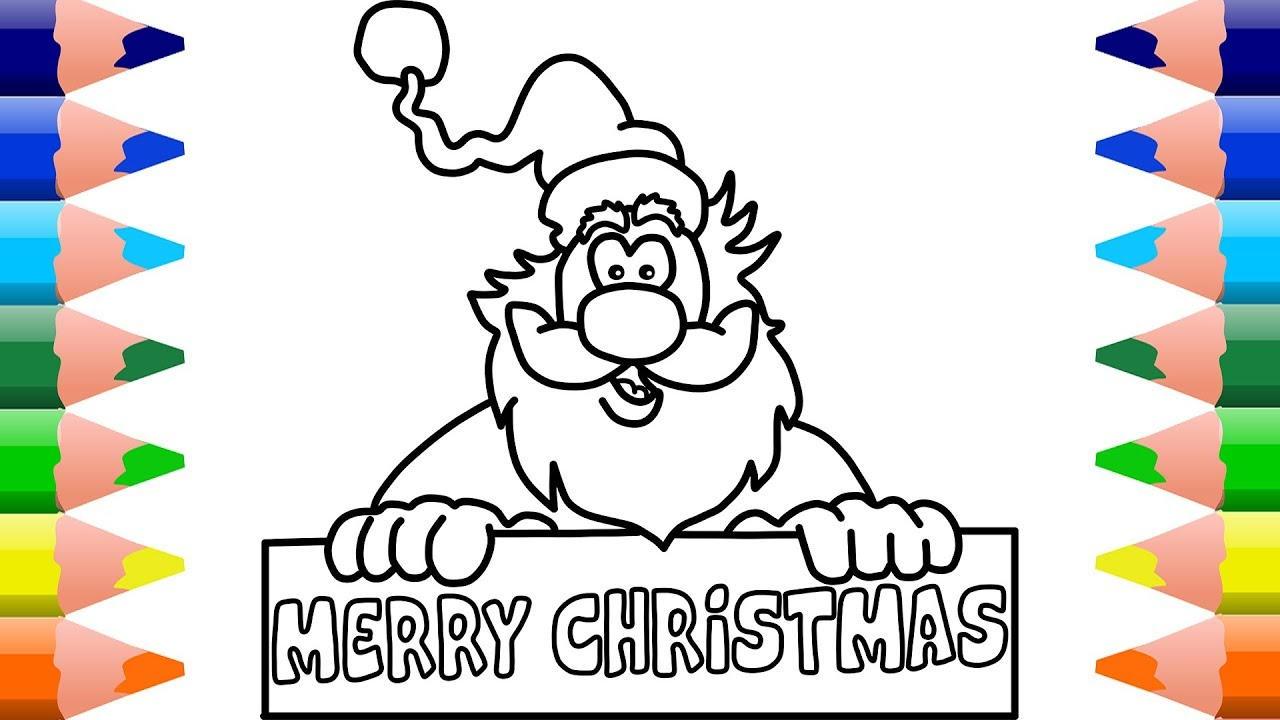 1280x720 How To Draw Santa Claus And Merry Christmas Drawing And Coloring