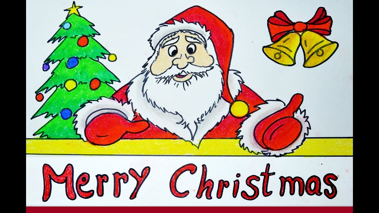 1280x720 How To Draw Merry Christmas Wish, Santa Claus Drawing Easy