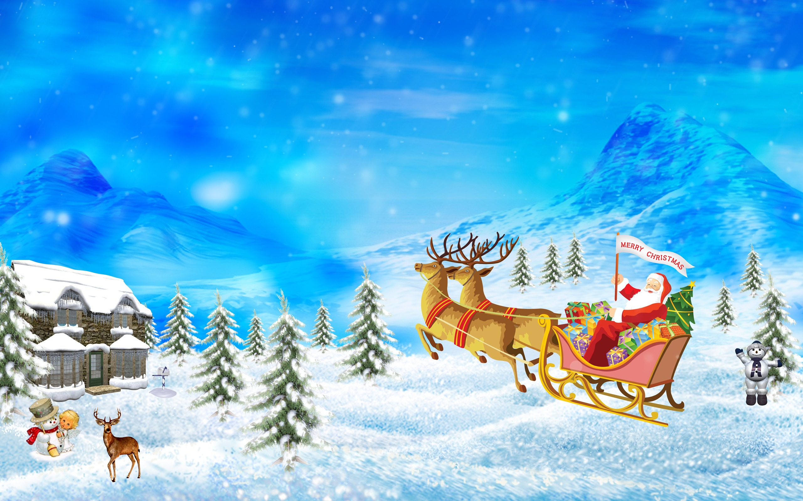 2560x1600 Merry Christmas Drawing Wallpaper Christmas Holidays Wallpapers
