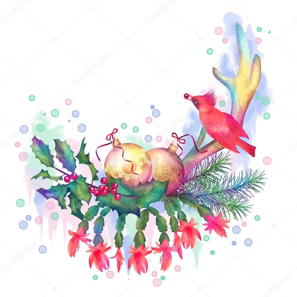 1024x1024 Merry Christmas Watercolor Drawing Stock Photo Kostins