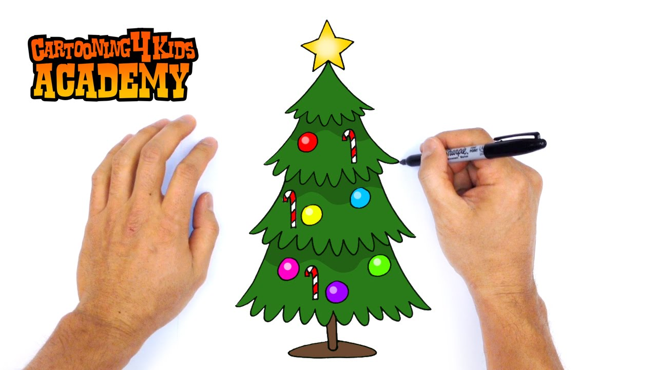 1280x720 How To Draw A Christmas Tree Art For Beginners