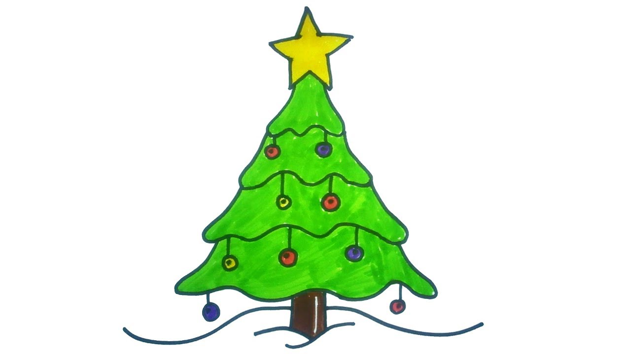 1280x720 Very Easy ! How To Draw A Christmas Tree