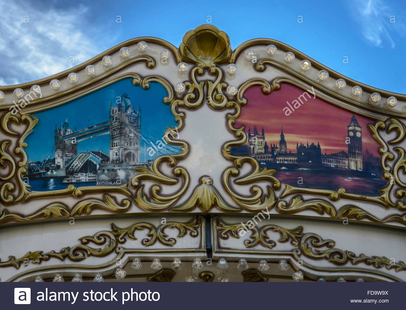 1300x994 A Drawing Of London City In The Top Of A Merry Go Round Stock