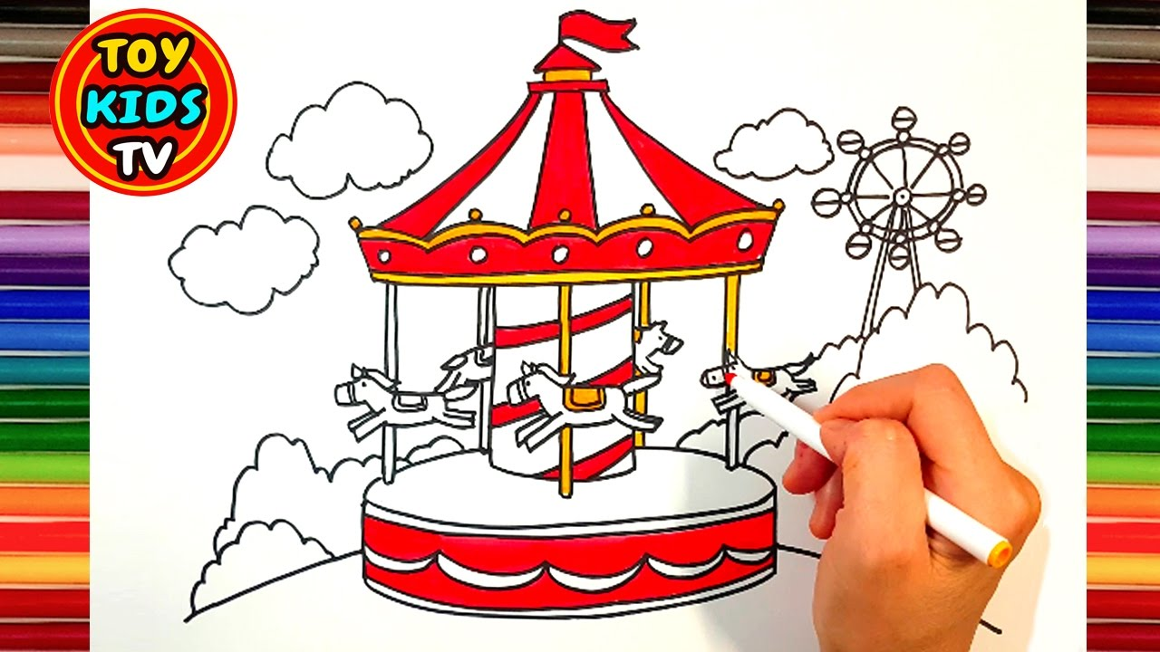 1280x720 How To Draw A Merry Go Round Paint For Kids