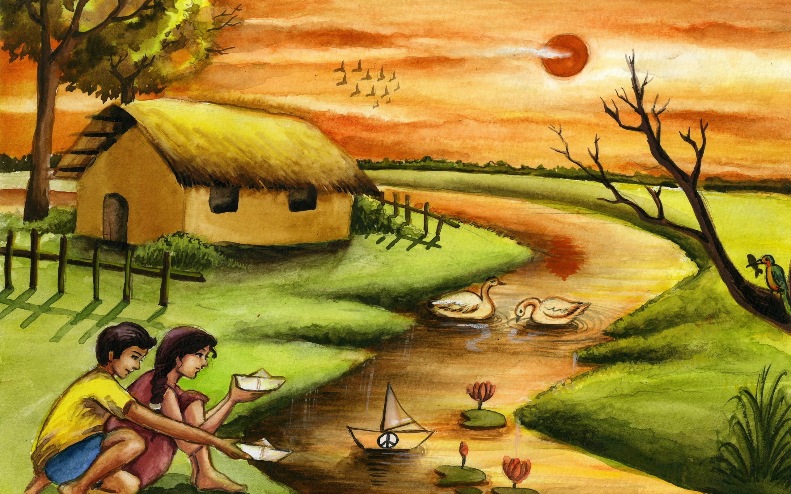 2560x1600 2560x1600 Arts, Drawing, Artwork, Kids, River, Message Of Peace