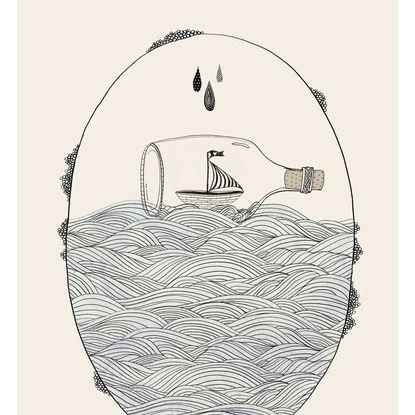 415x415 Draw Waves Message In A Bottle Tattoo Ideas Bottle