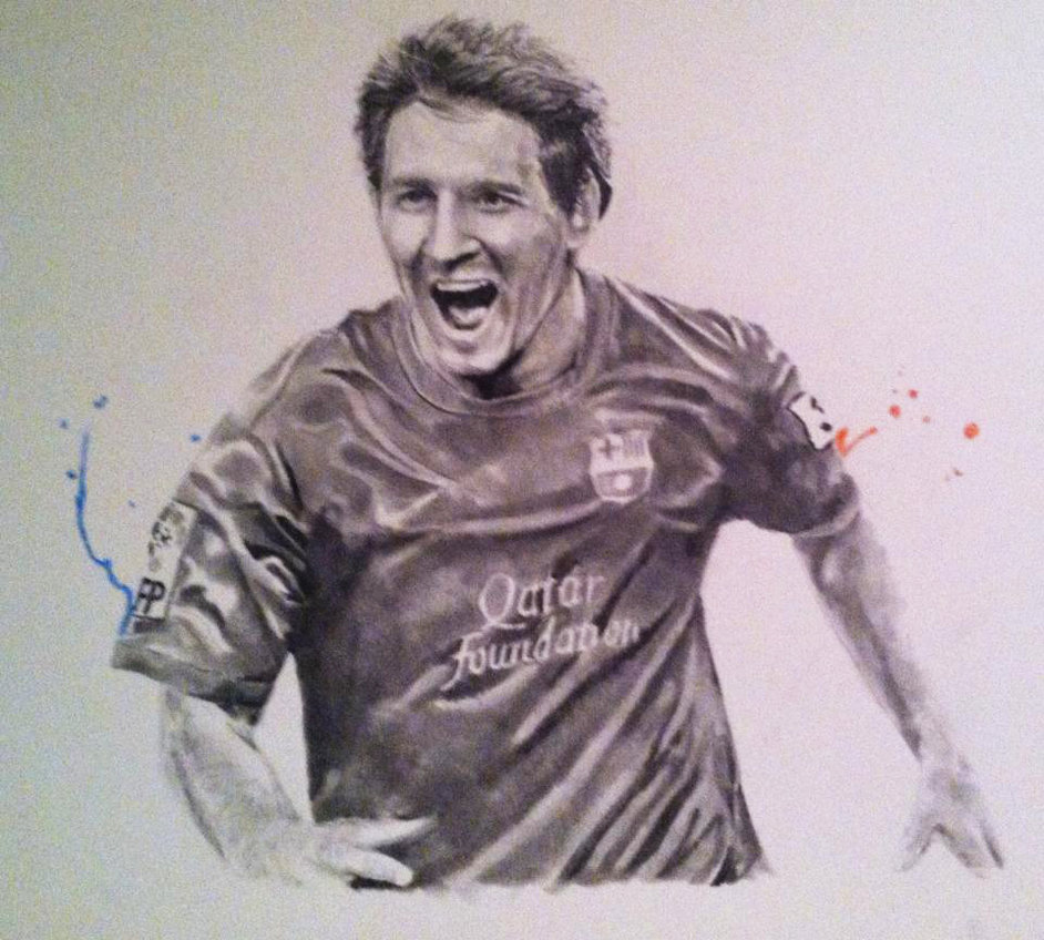 942x848 Messi Drawing By Kwm0304