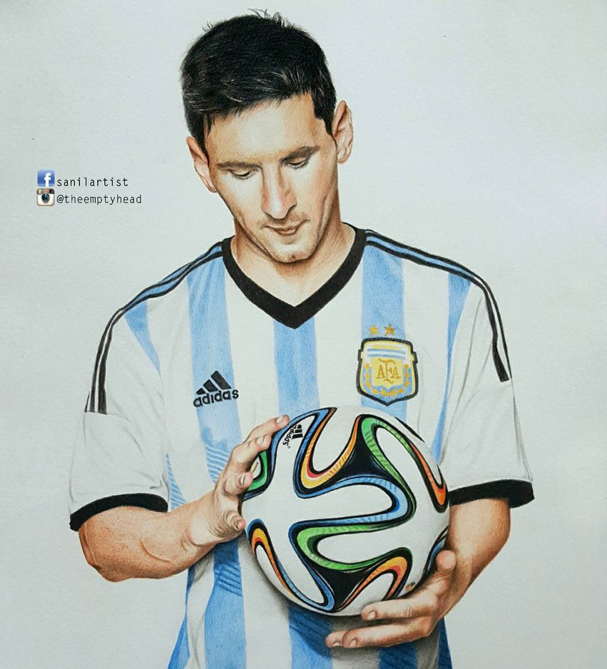 851x938 Colored Pencil Drawing Of Lionel Messi By Sanilartist