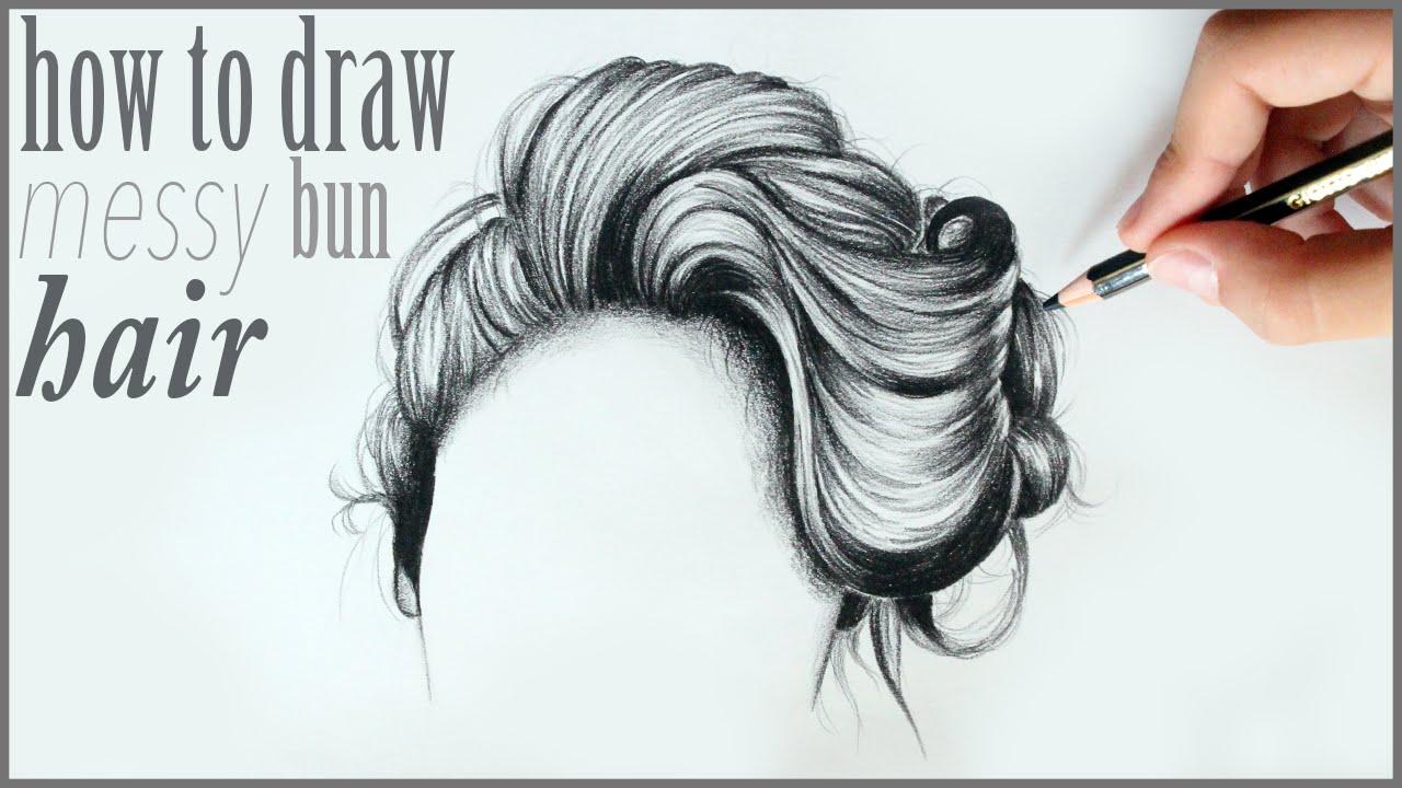 1280x720 How To Draw Messy Bun Hair Drawing Tutorial