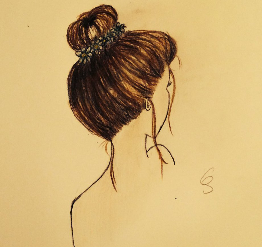 921x868 Messy Bun Drawing By Summerreds