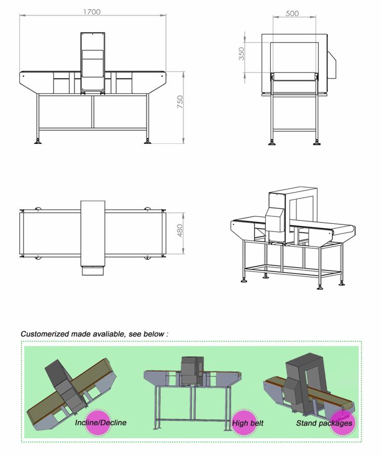 755x902 Conveyor Belt Metal Detector For Food Processing
