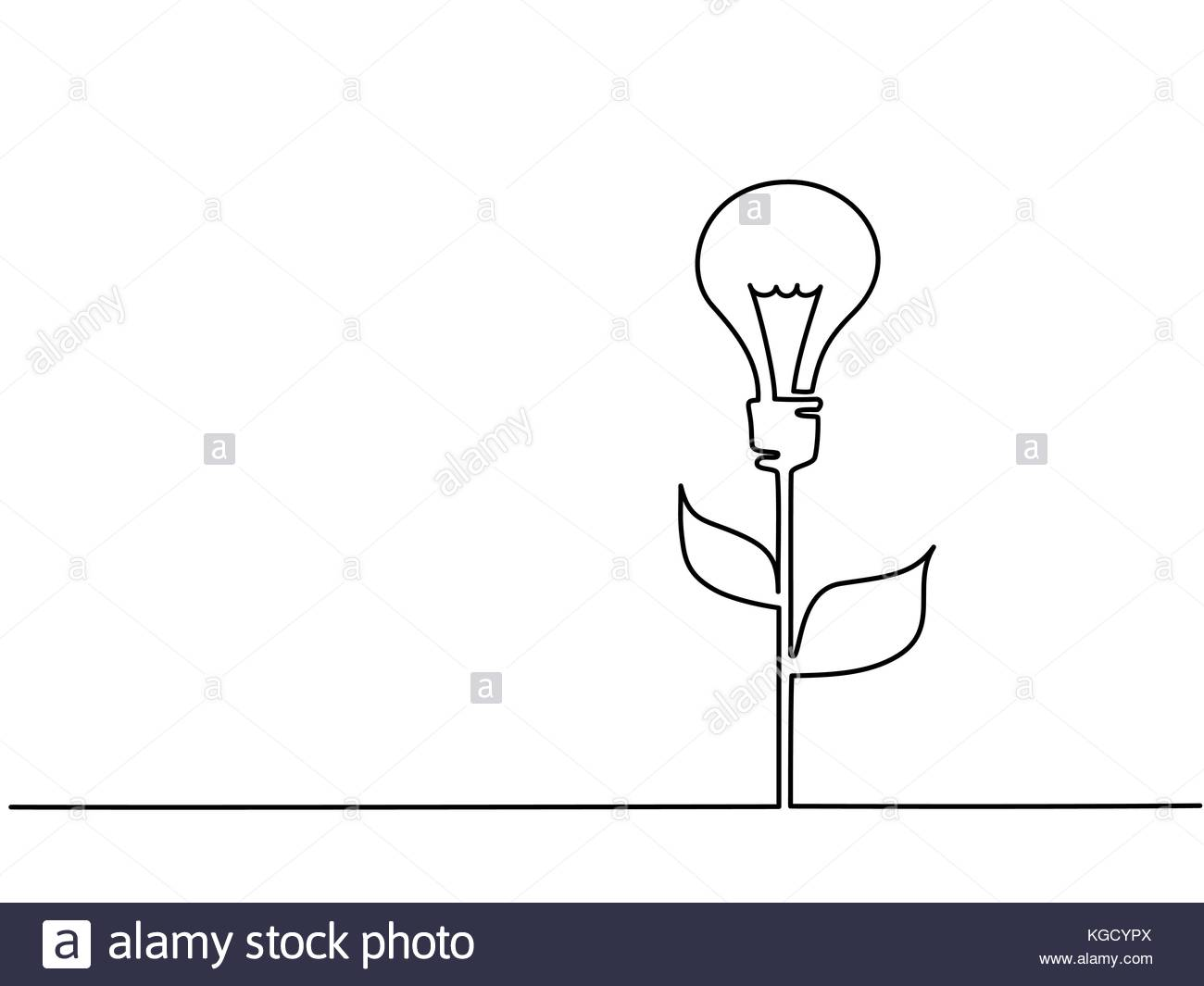 1300x1065 Continuous Line Drawing. Electic Light Bulb Illuminated On Stem