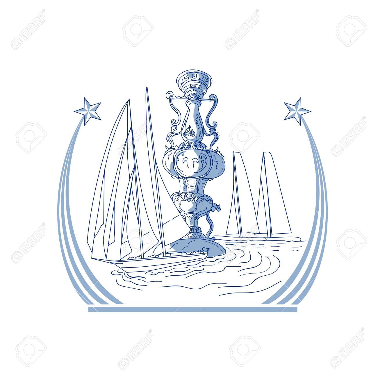 1300x1300 Drawing Sketch Style Illustration Of Three Yacht Club Match Racing