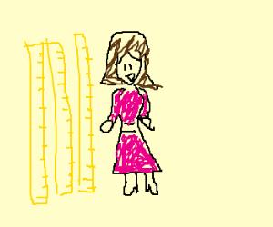 300x250 Woman Happy With Three Meter Sticks (Drawing By K Polaris)