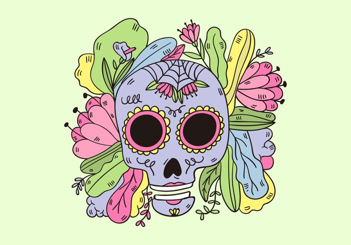 700x490 Cute Sugar Skull With Leaves And Flowers Mexican Culture