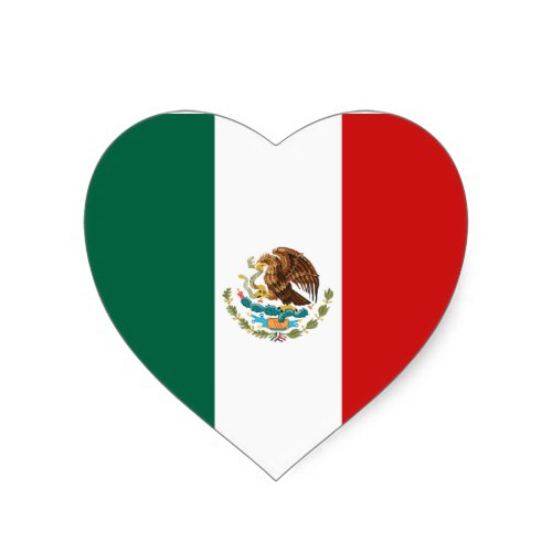 500x500 Mexico Flag Heart Sticker Mexico Flag, Flags And Guadalajara