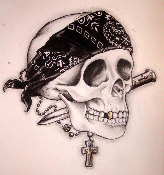 700x746 Gangsta Skull By Theblackrabbit