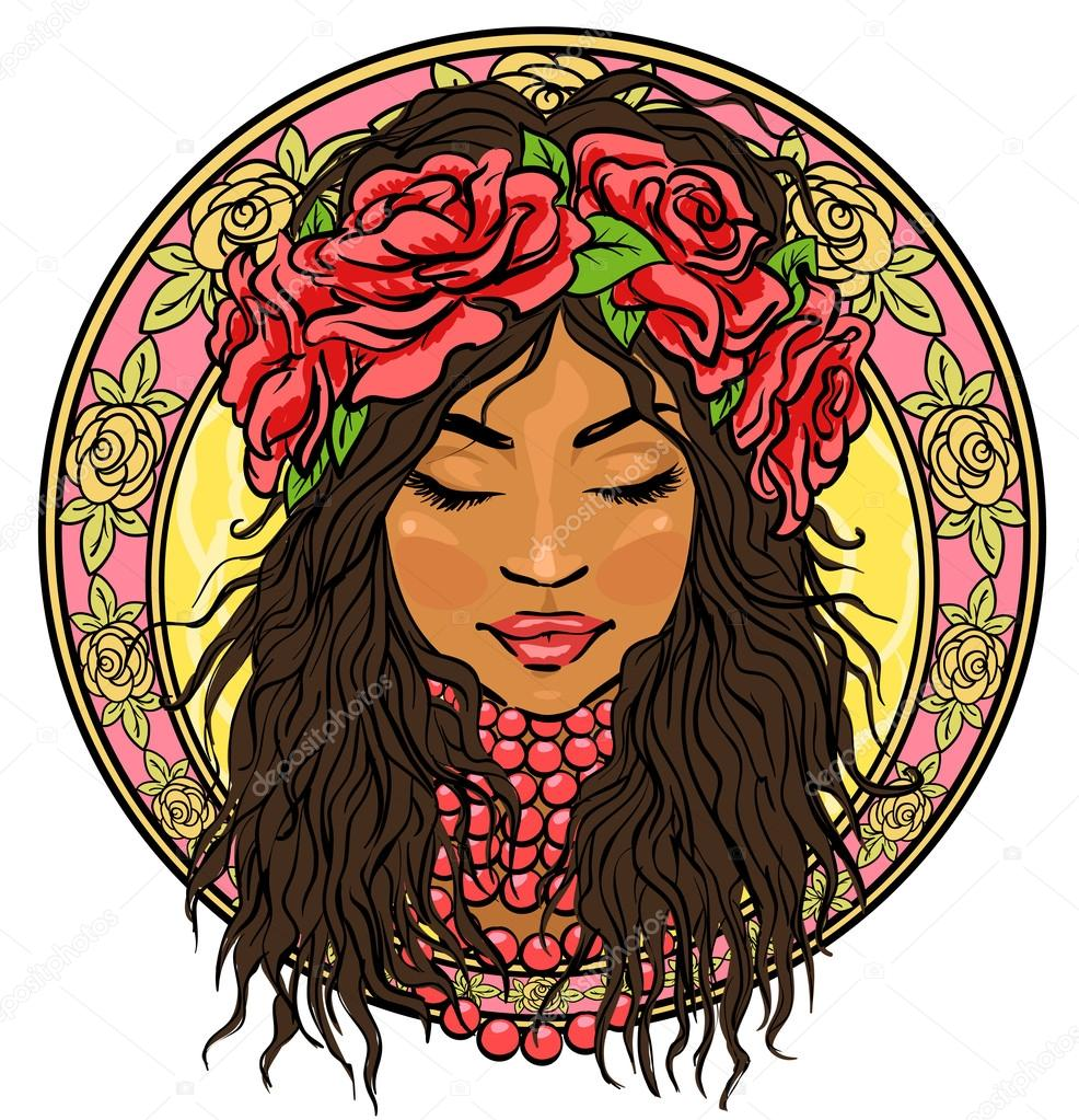 986x1023 Mexican Woman In Floral Border Stock Vector Nataliahubbert